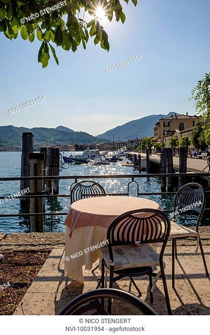 Restaurant on Lake Garda, Salò, Brescia Province, Lombardy, Italy