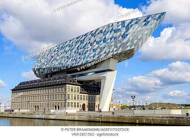 ANTWERP - BELGIUM - OKTOBER 9: The new Port House in Antwerp repurposes, renovates into a new headaquarters for the port, creates by Zaha Hadid