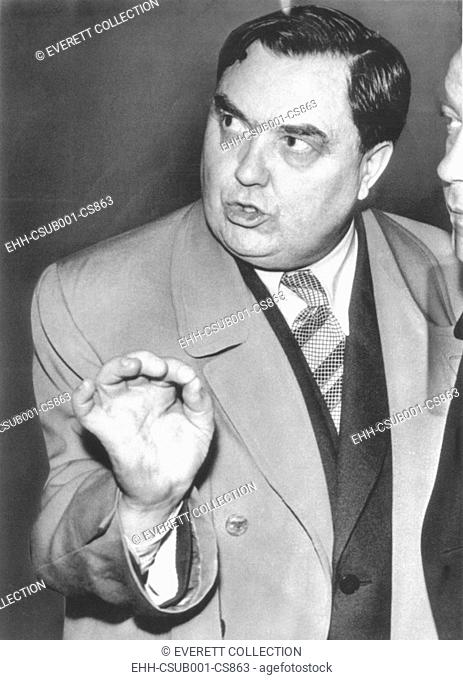 Georgy Malenkov heading a Soviet delegation visiting a Birmingham, England, nuclear power plant. March 22, 1956. In 1957