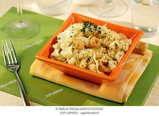 Cauliflower with prawns