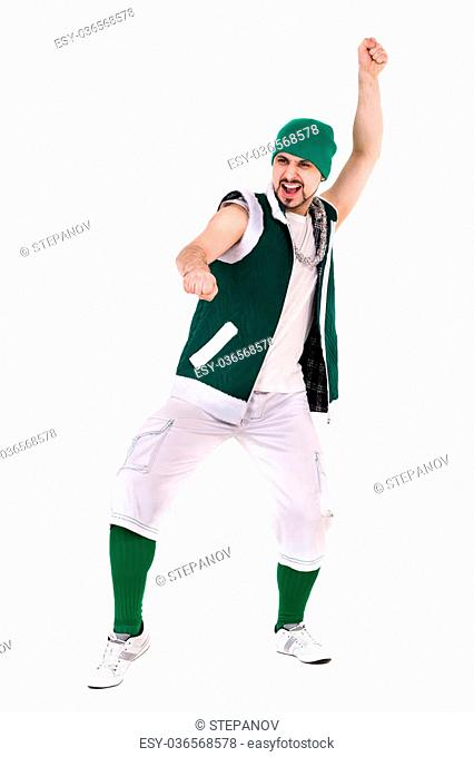 friendly man dressed like a funny gnome dancing Isolated on white background in full length