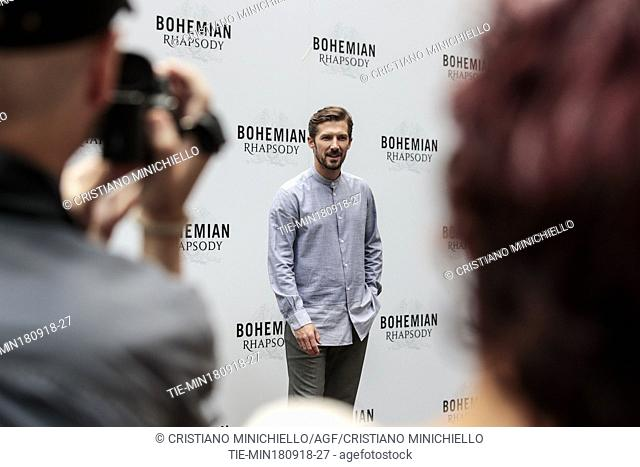 The actor Gwilym Lee during the photocall of film Bohemian Rhapsody, Rome, ITALY-18-09-2018