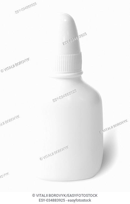 White nasal spray with cap isolated on white background