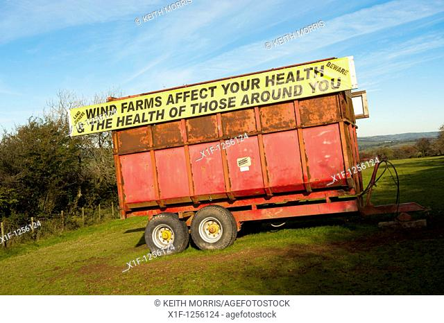 Banner slogan on trailer protesting against windfarms in Carmarthenshire, west wales UK