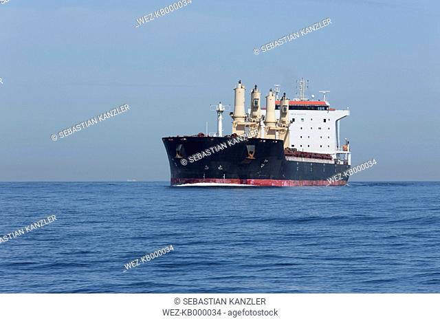 Spain, Andalusia, Tarifa, Oil tanker on the ocean
