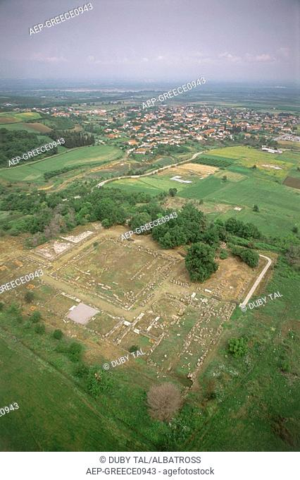 Aerial photograph of the ruins of the ancient Greek city of Vergina