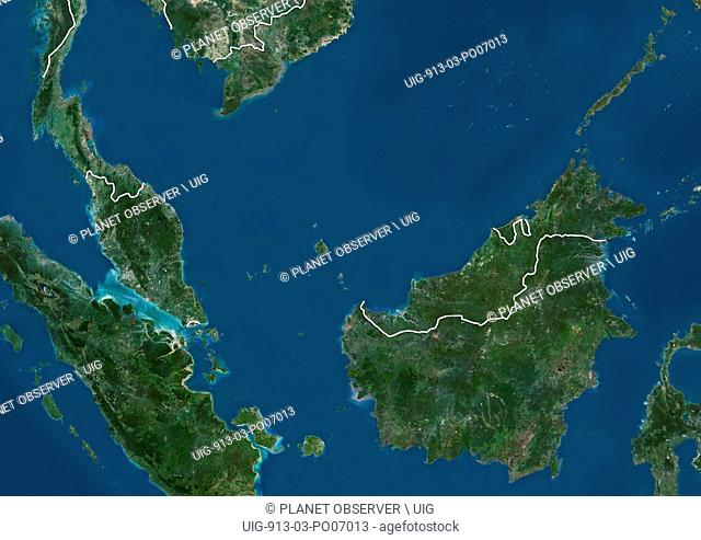 Satellite view of Malaysia (with country boundaries). This image was compiled from data acquired by Landsat satellites