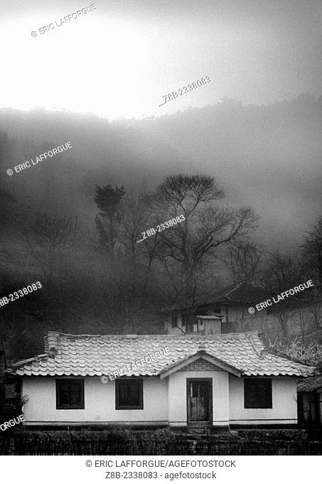 House In Foggy Landscape, Nampho, North Korea