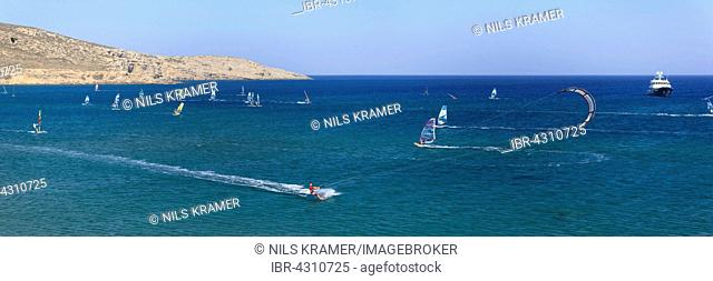 Kitesurfers and windsurfers, beach for surfers, Prasonisi, Rhodes, Dodecanese, Aegean Sea, Greece