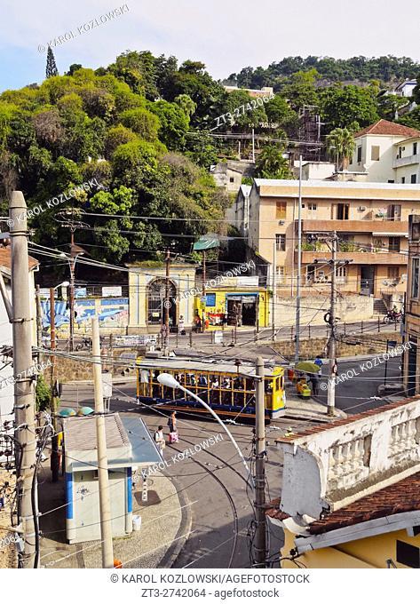 Brazil, City of Rio de Janeiro, Elevated view of The Santa Teresa Tram on Largo dos Guimaraes
