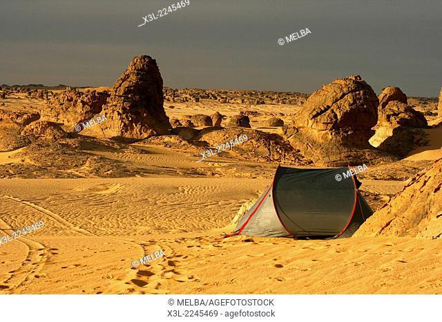 Tent. In Tehog. Tassili Ahaggar. Sahara desert. Algeria