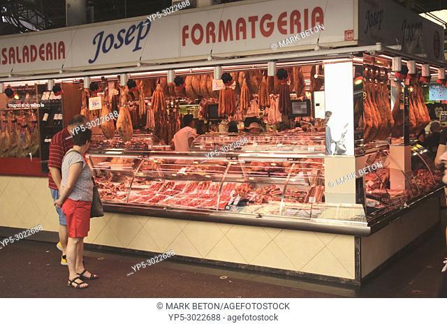 Meat stall, Mercat de la Boqueria, interior, Barcelona, Spain