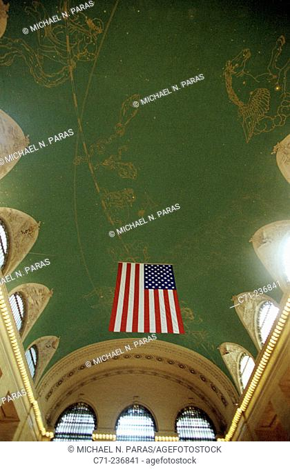 U.S. Flag at interior of Grand Central Station. New York City. USA