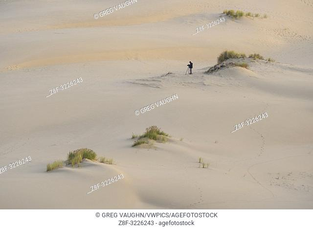 Photographer photographing the sand dunes on the John Dellenback Trail, Oregon Dunes National Recreation Area