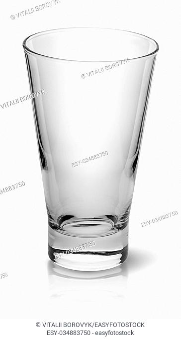Wide glass for cocktail top view isolated on white background