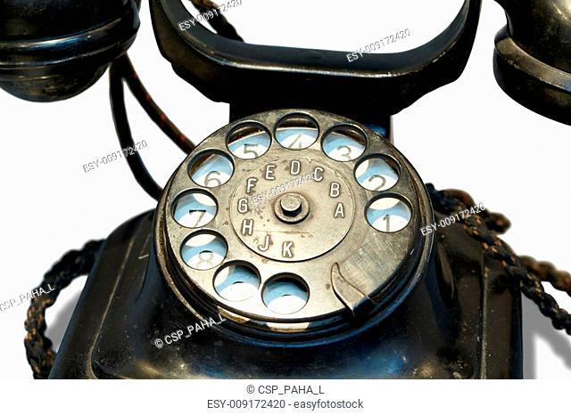 Old-fashioned desktop black phone