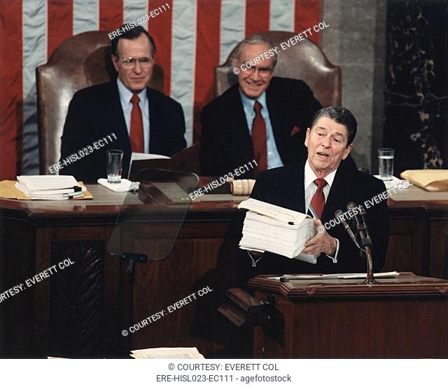 President Reagan delivering his last State of the Union address. Reagan displayed a 43 pound 'behemoth' the Federal budget and called for a 'drastic overhaul'...