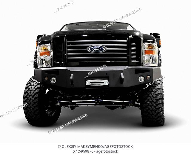 Black modified Ford Super Duty pickup truck  Isolated on white background with clipping path