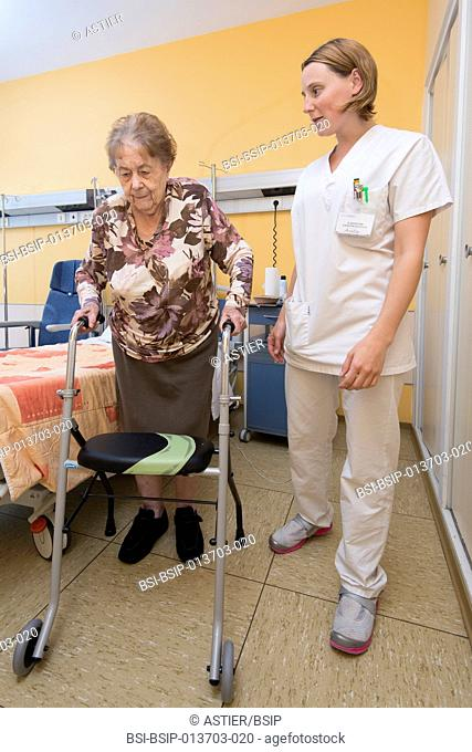 Reportage in the Follow-up Care and Rehabilitation service of Saint-Philibert hospital in Lille, France. Rehabilitation exercises with an occupational therapist