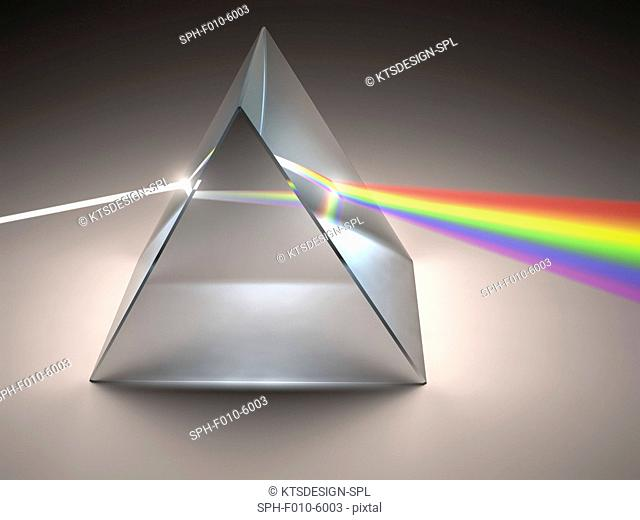 Prism and rainbow, computer artwork