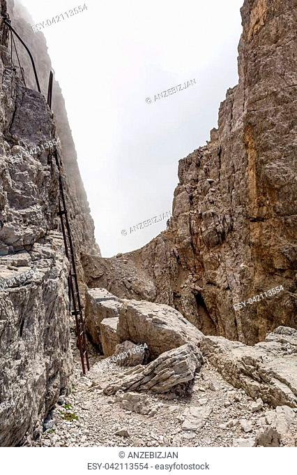 Metal ladder in mountains. Brenta Dolomites, Sentiero delle Bocchette Alte