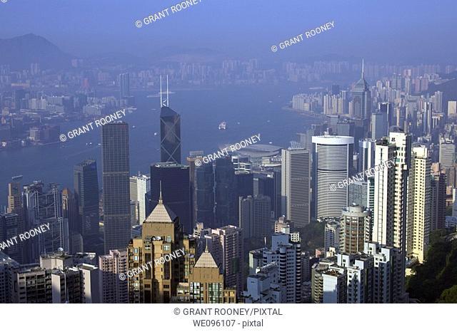 Hong Kong Skyline/ Cityscape From Victoria Peak, Hong Kong, China