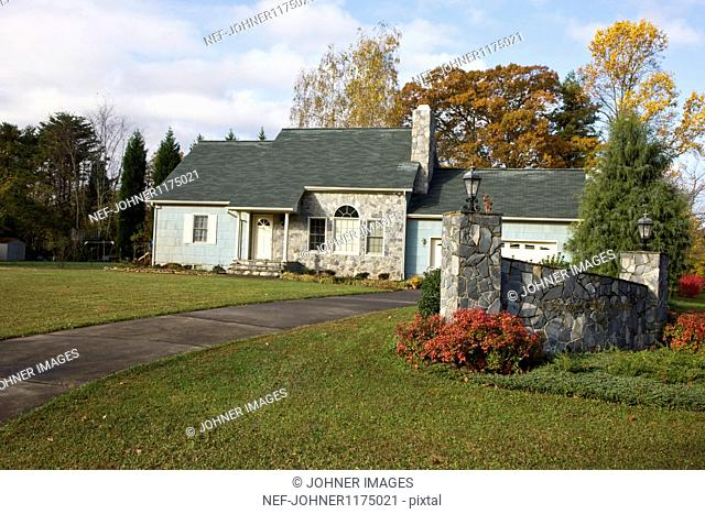 View of house with lawn