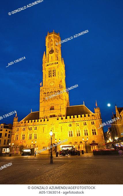 Belfry Historic centre of Bruges in Markt Square, Bruges, Brugge, Flanders,Belgium, UNESCO World Heritage Site