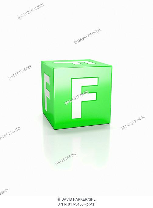 Green cube with letter F