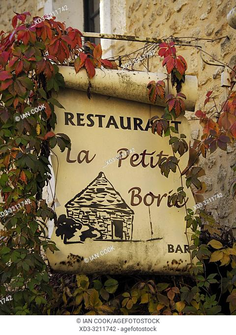 sign for Restaurant La Petite Borie, Sarlat-la-Caneda, Dordogne Department, Nouvelle-Aquitaine, France