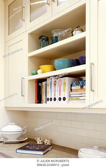 Shelves in domestic kitchen