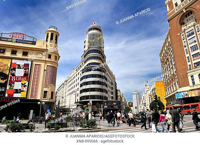 Capitol Building and Vicente Luis Martinez Felduchi Eced also called Carrion by its sponsor, in the Gran Via, people walking in the Plaza de Callao