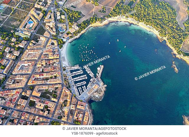 Spain, Balearic Islands, Mallorca, Aerial Photography port of Colonia de Sant Jordi