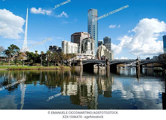 Southbank district and the St Kilda Road Bridge, Melbourne, Victoria, Australia