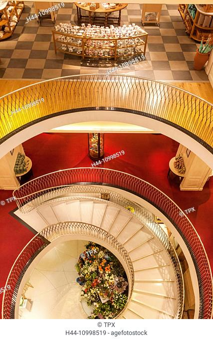 England, London, Piccadilly, Fortnum and Mason Store, Spiral Staircase