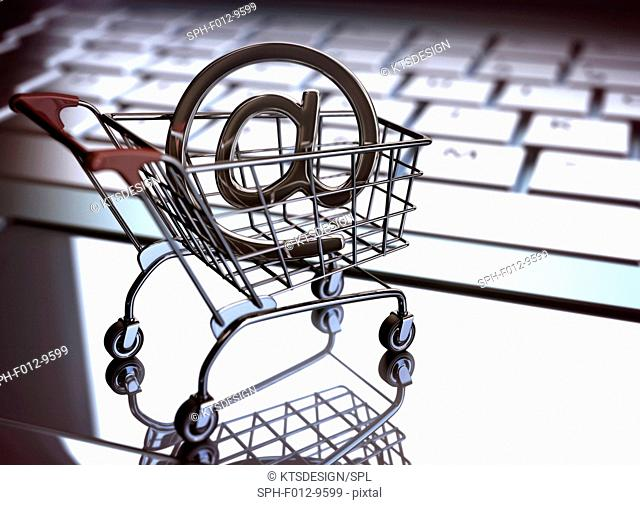 Shopping trolley with an 'at' sign and computer keyboard, illustration