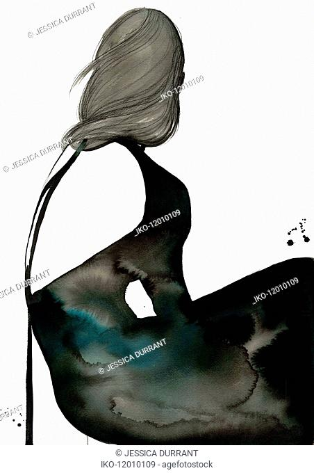 Fashion illustration of woman wearing black backless evening gown