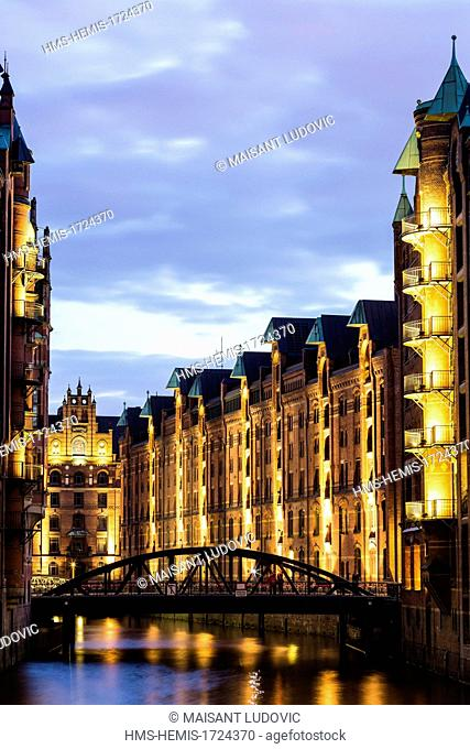 Germany, Hamburg, HafenCity, Speicherstadt, listed as World Heritage by UNESCO, one of the largest warehouse complex in the world that was built between 1883...