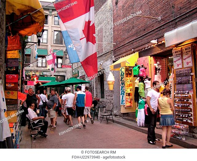 Montreal, Canada, QC, Quebec, Old Port, Old Montreal, Place Jacques Cartier, Rue Saint Amable, shops, boutiques