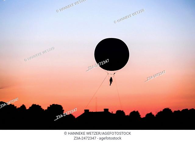 A balloon in the sky with sunset in the Herrenhausen Gardens, Hanover, Germany