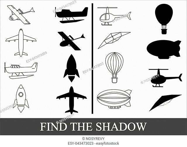Find the shadow of air transport, kid's game
