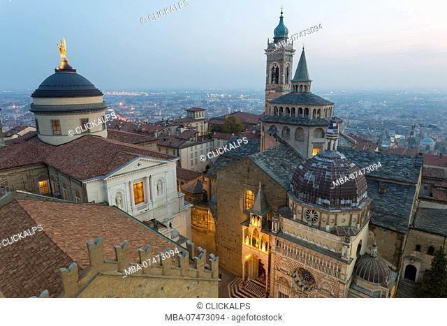 Cathedral of Bergamo with Basilica of Santa Maria Maggiore from above at dusk, Bergamo, Upper town, Lombardy, Italy