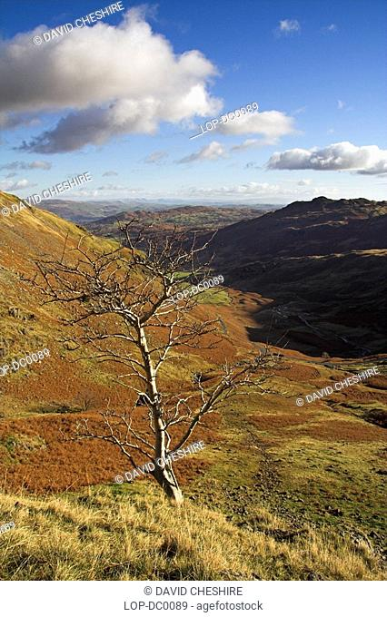 England, Cumbria, Wrynose Pass, The view towards Little Langdale from above Wrynose Pass