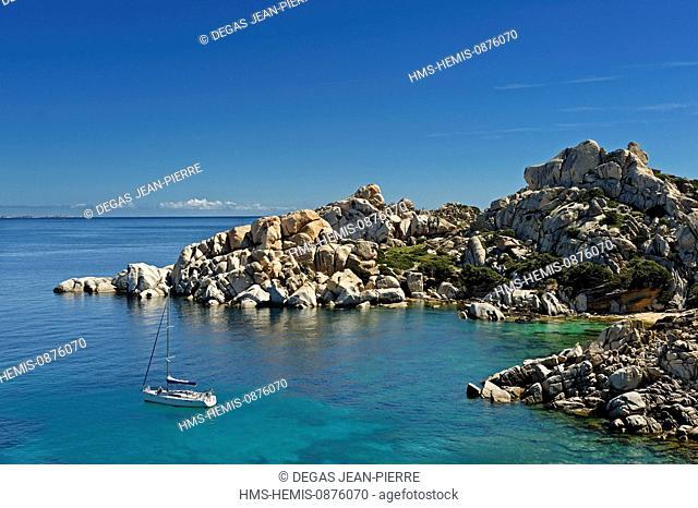 Italy, Sardinia, Olbia Tempio Province, Santa Teresa Gallura, Capo Testa, granite peninsula overlooking the Strait of Bonifacio in Corsica face