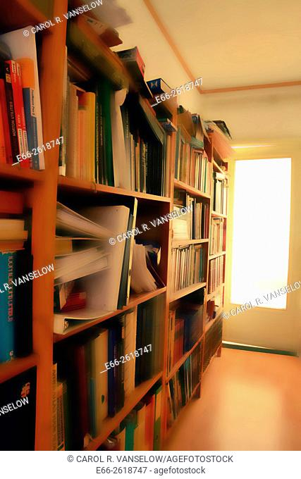 Crowded bookshelves in hallway. Surface blur filter applied to image. For version without the surface blur - see image #E66-1942796