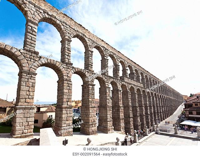 The ancient aqueduct in Segovia