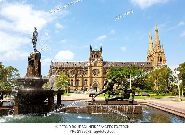 Archibald Fountain and Saint Mary's Cathedral, Sydney, New South Wales, Australia