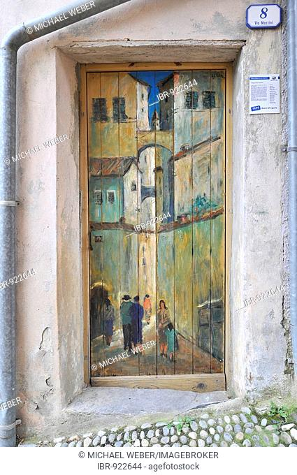 The gates of Valloria, art on doors, daylight museum, district of Dolcedo, Riviera dei Fiori, Liguria, Italy, Europe
