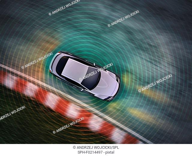 Autonomous driving car, illustration