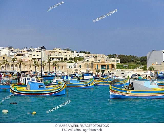 Marsaxlokk, fishing village, Island Malta, Mediterranean Sea